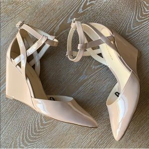 MARC FISHER Cream Bonny Strappy Wedge Heels 7